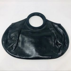 J. Crew Black Patent Leather Tote Bag Clutch